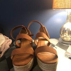 Shoes - camel colored ankle strap espadrille sandals